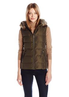 Lucky Brand Women's Wool Puffer Vest with Faux Fur Hood  L