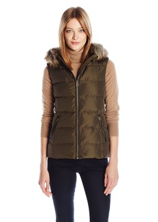 Lucky Brand Women's Wool Puffer Vest with Faux Fur Hood  M