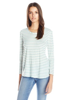 Lucky Brand Women's Woven-Back Mint-Stripe Top