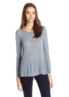 Lucky Brand Women's Woven-Back Striped Top Blue/White edium