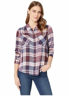 Lucky Brand Women's Yarn Dyed Plaid Button UP Shirt in Burgundy Multi XL