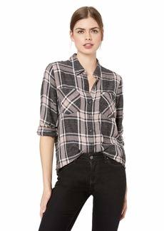Lucky Brand Women's Yarn Dyed Plaid Multi Shirt Grey XL