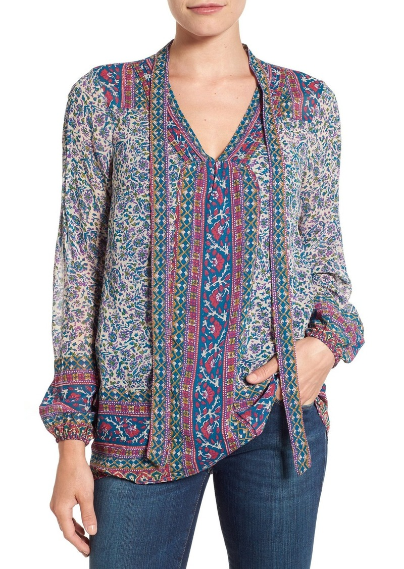 Lucky Brand Woodblock Print Tie Neck Blouse