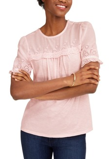 Lucky Brand Woven Mix Embroidered Top