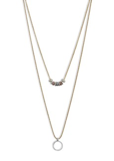 Lucky Brand Lucky Layer Bead & Circle Pendant Necklace