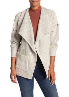 Lucky Brand Marled Draped Open Front Pocket Cardigan