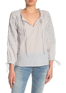 Lucky Brand Metallic Embroidered Floral Split Neck Blouse