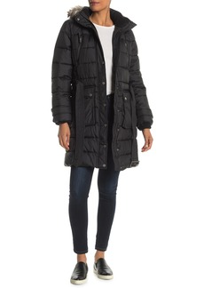 Lucky Brand Missy Belted Front Faux Fur Trim Jacket