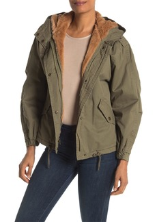 Lucky Brand Missy Faux Fur Lined Short Hooded Puffer Jacket