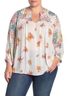 Lucky Brand Mixed Floral Print Peasant Top (Plus Size)