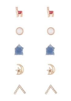 Lucky Brand Mixed Metal & Stone Stud Earrings Set
