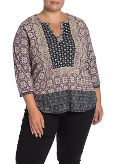 Lucky Brand Mixed Print Blouse (Plus Size)