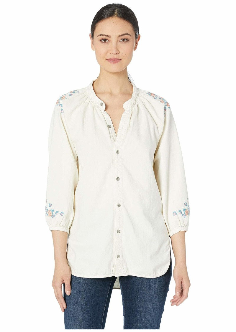 Lucky Brand Peasant Shirt with Embroidery