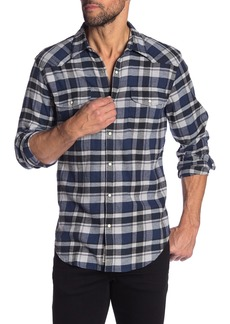 Lucky Brand Plaid Snap Button Classic Fit Western Shirt