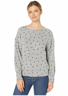 Lucky Brand Polka Dot Cloud Jersey Smocking Top