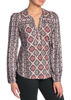 Lucky Brand Print Tie Neck Top