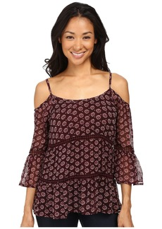 Lucky Brand Printed Cold Shoulder Blouse