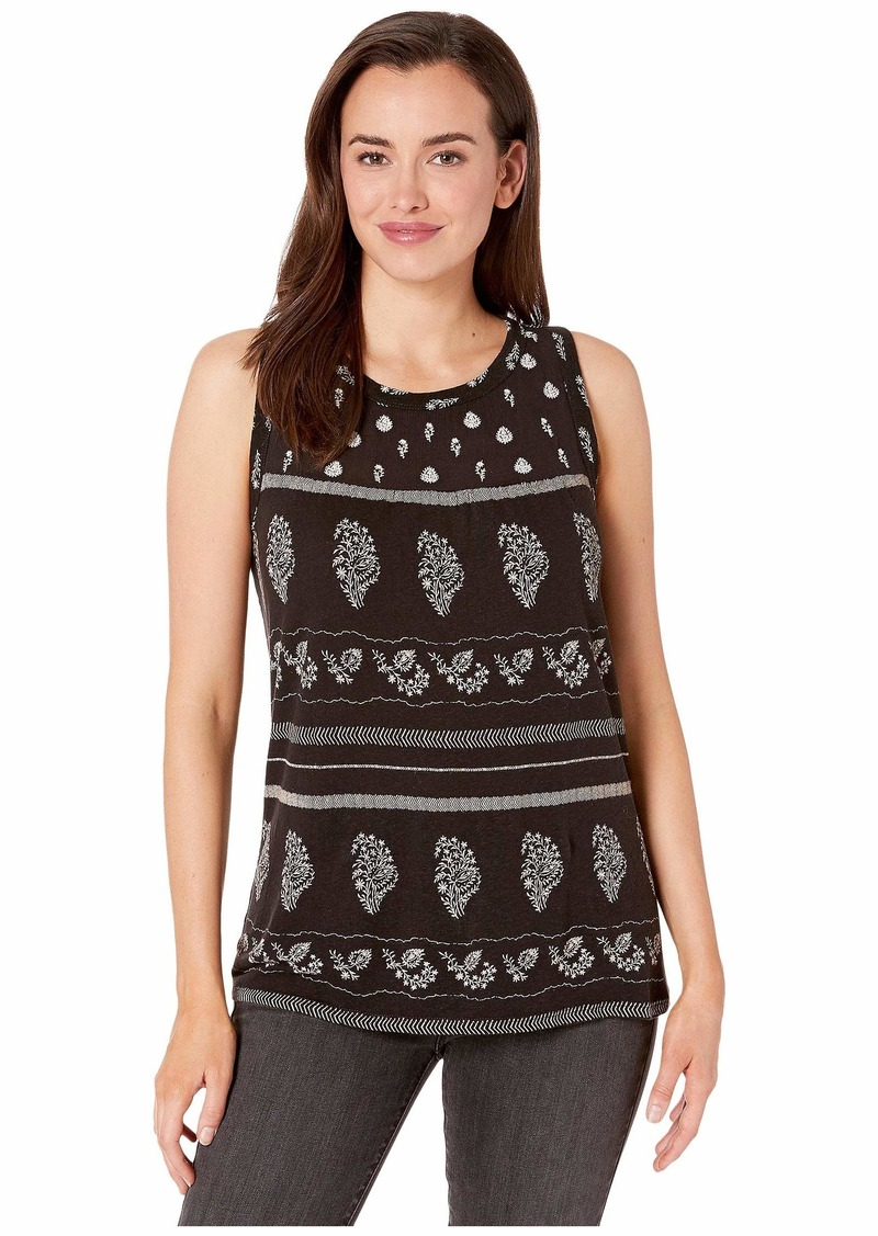 Lucky Brand Printed Shell with Embroidery