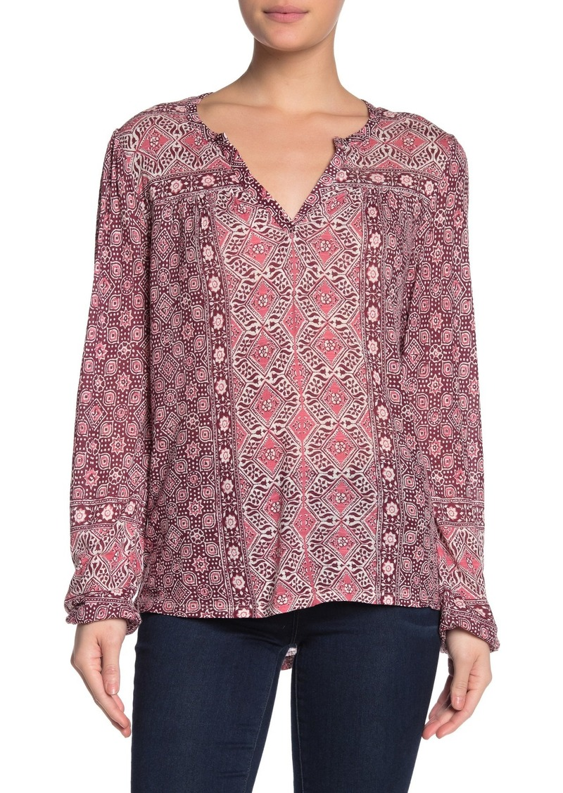 Lucky Brand Printed Split Neck Blouse