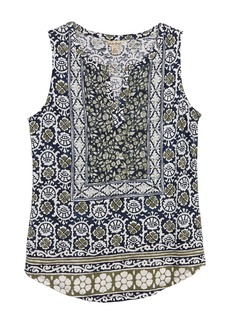 Lucky Brand Printed Split Neck Top