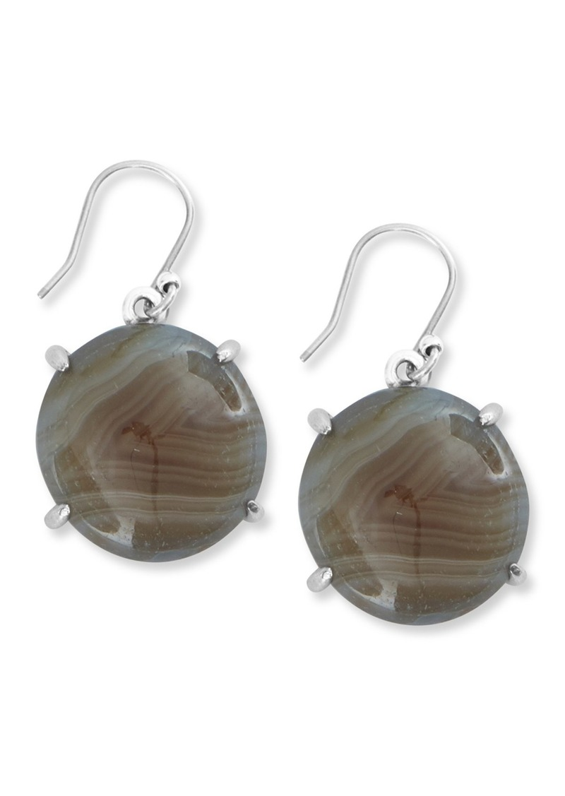 Lucky Brand Prong Set Round Agate Drop Earrings