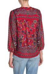 Lucky Brand Rami Floral Print Peasant Top
