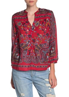 Lucky Brand Rami Floral Print Peasant Top