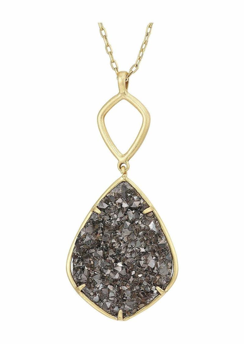 Reversible and Druzy Diamond Pendant Necklace