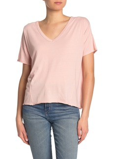 Lucky Brand Seam Detail Burnout V-Neck T-shirt