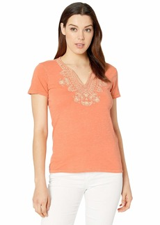 Lucky Brand Short Sleeve Embroidered V-Neck Tee