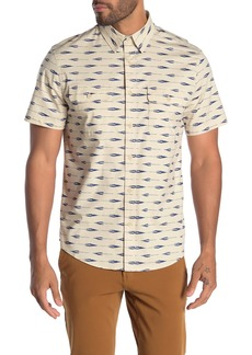 Lucky Brand Short Sleeve Front Button Regular Fit Printed Shirt