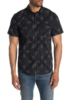 Lucky Brand Short Sleeve Geometric Print Classic Fit Western Shirt