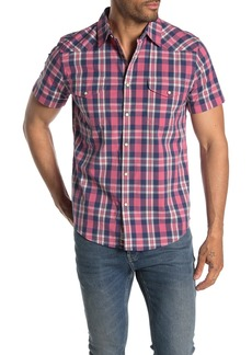 Lucky Brand Short Sleeve Plaid Print Classic Fit Western Shirt