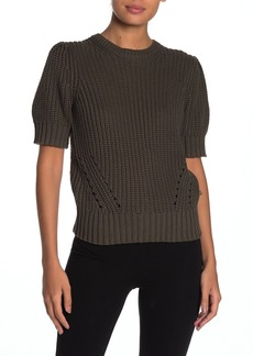 Lucky Brand Shoulder Pleat Short Sleeve Knit Sweater