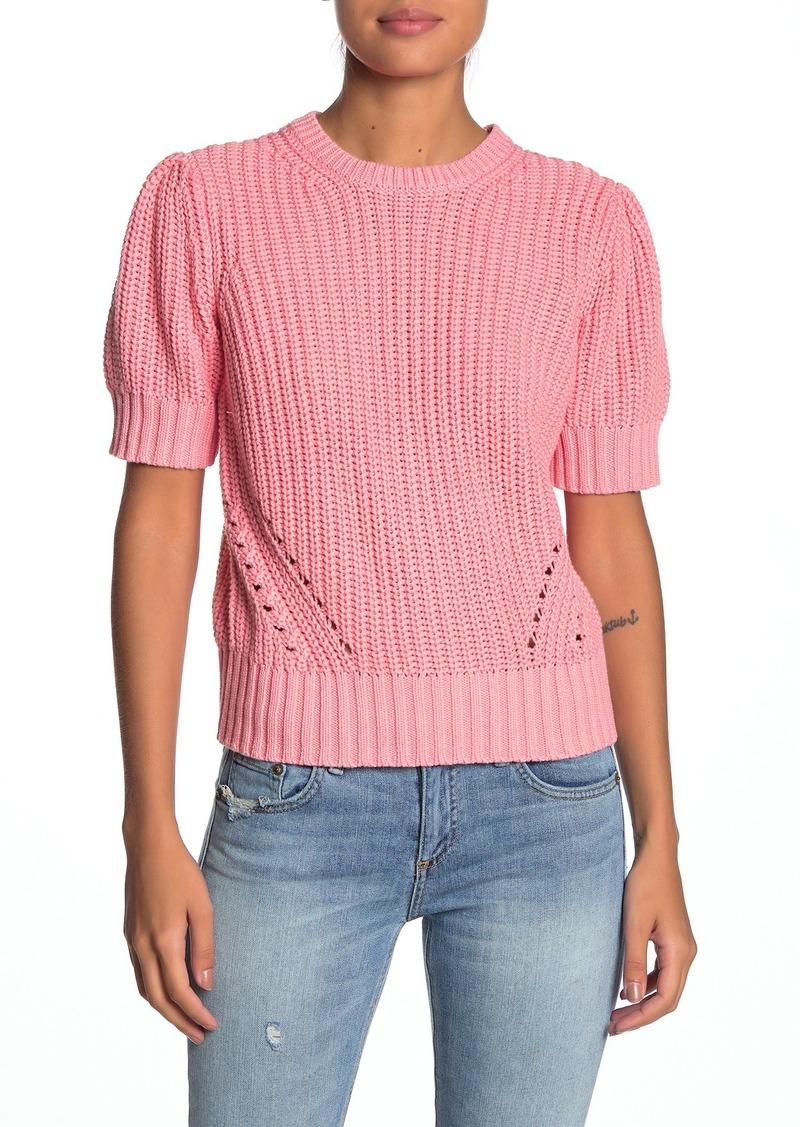 Lucky Brand Shoulder Pleat Short Sleeve Knit Sweater
