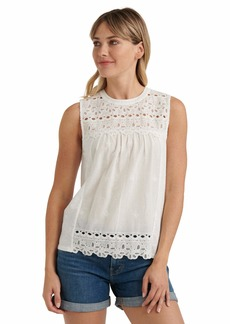 Lucky Brand Sleeveless Crew Neck Embroidered Shiffly Top