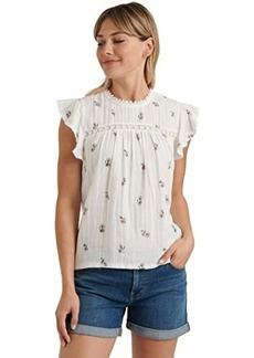 Lucky Brand Sleeveless Crew Neck Printed Woven Mix Top