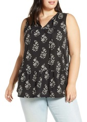 Lucky Brand Sleeveless Ruffle Hem Top (Plus Size)