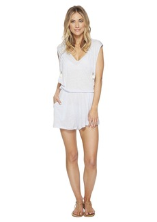 Lucky Brand Solid Attitude Hooded Romper Cover-Up with Side Pockets