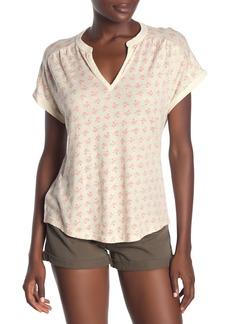 Lucky Brand Split V-Neck Printed T-Shirt