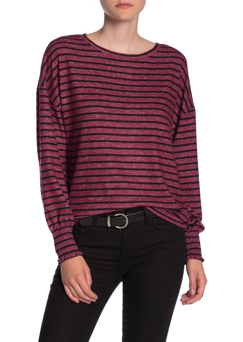 Lucky Brand Stripe Cloud Jersey Smocked Cuff Pullover
