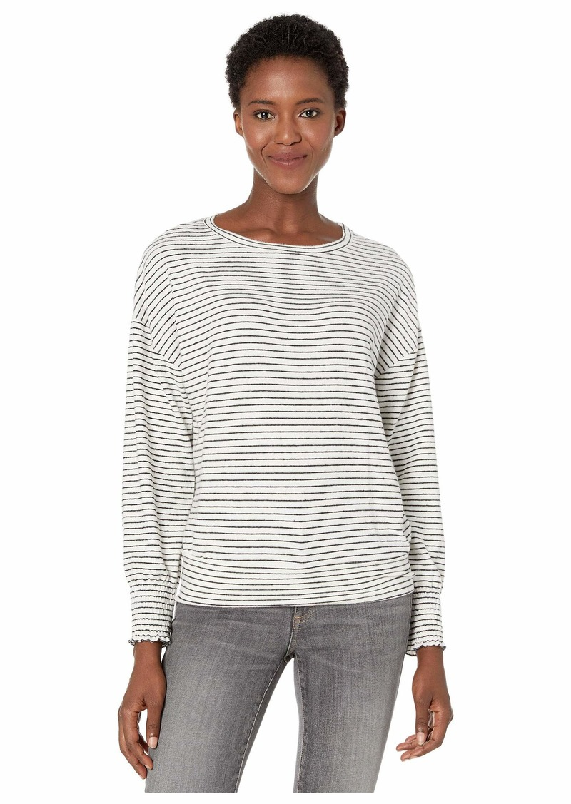 Lucky Brand Stripe Cloud Jersey Smocking Top