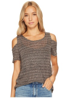 Lucky Brand Stripe Cold Shoulder Top