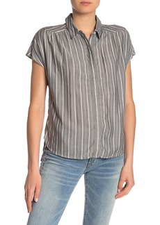 Lucky Brand Striped Short Sleeve High/Low Blouse