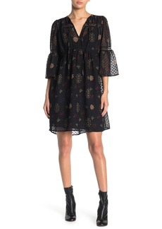 Lucky Brand Swiss Dot Floral Print Lace Trim Dress