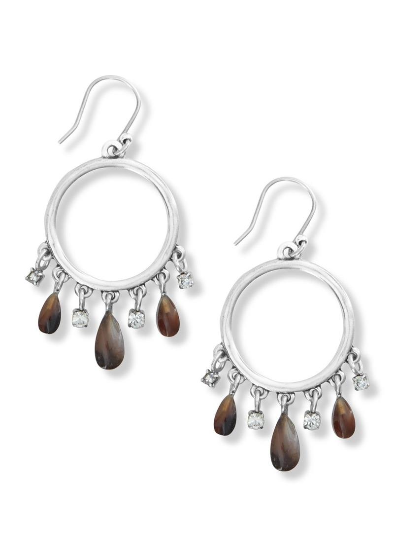 Lucky Brand Teardrop Agate Fringe Open Hoop Drop Earrings