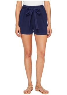 Lucky Brand Tie Front Linen Shorts in American Navy