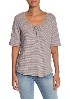 Lucky Brand Tie Neck Stripe T-Shirt