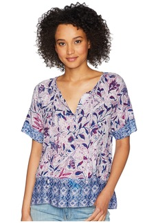 Lucky Brand Trapunto Border Peasant Top