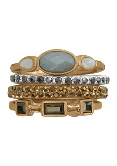 Lucky Brand Two-Tone Mixed Stone Embellished Ring Stack - Set of 4
